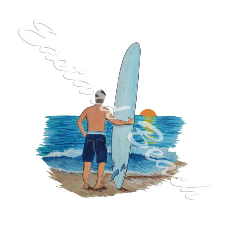Surfer At Sunset - Printed Vinyl Decal