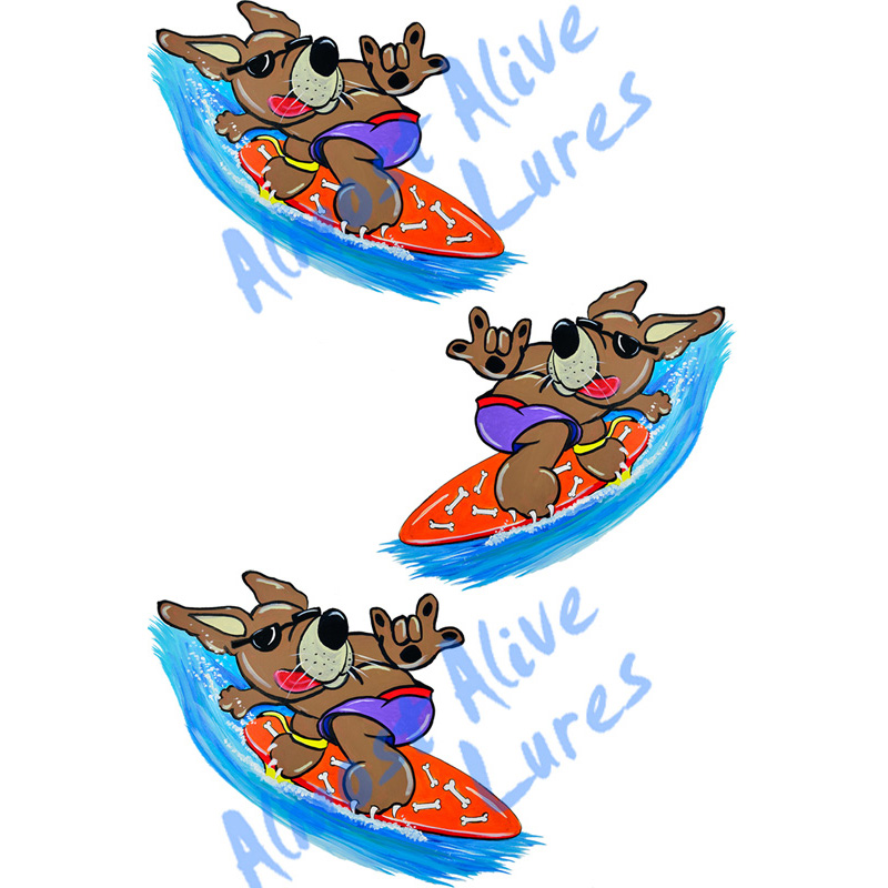 Surf Dog - Minis Set of 3-Printed Vinyl Decals