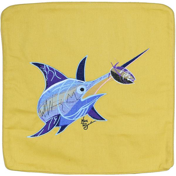 SWORDFISH EMBROIDERED DECORATIVE THROW PILLOW CUSHION GOLD