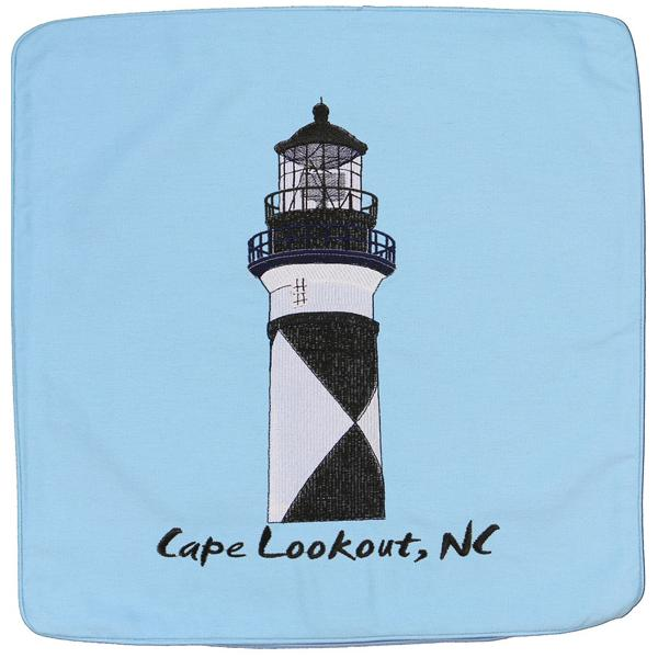 CAPE LOOKOUT LIGHT LIGHTHOUSE HOUSE EMBROIDERED CUSHION LT BLUE