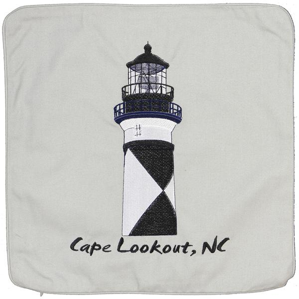 CAPE LOOKOUT LIGHT LIGHTHOUSE HOUSE EMBROIDERED CUSHION LT GREY