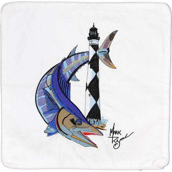 WAHOO CAPE LOOKOUT LIGHT LIGHTHOUSE HOUSE CANVAS CUSHION WHITE
