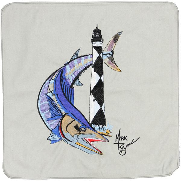 WAHOO CAPE LOOKOUT LIGHT LIGHTHOUSE HOUSE CANVAS CUSHION LT GREY