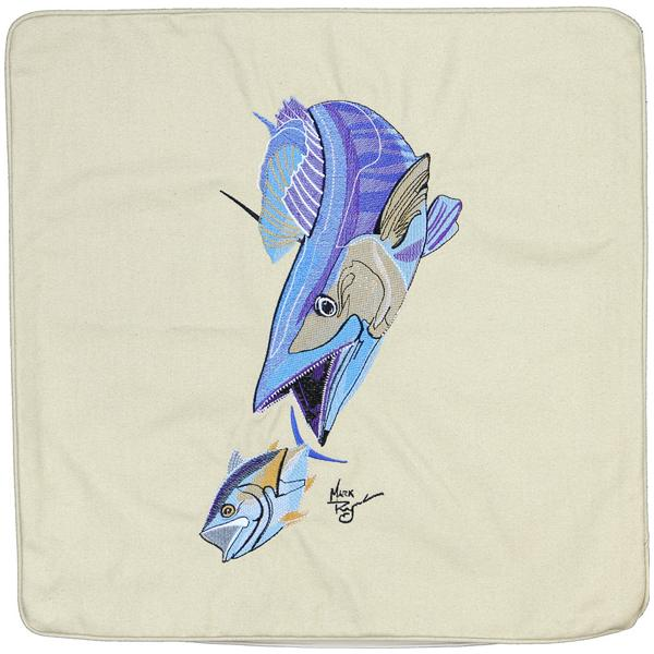 WAHOO & YELLOWFIN TUNA FISH EMBROIDERED CANVAS CUSHION LIGHT TAN