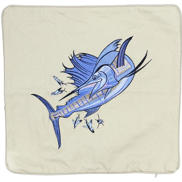 SAILFISH EMBROIDERED INDOOR OUTDOOR CANVAS PILLOW CUSHION LT TAN