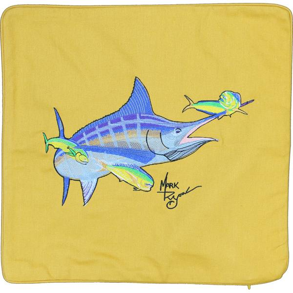 MARLIN & MAHI SALTWATER FISH HOME DECOR PILLOW CUSHION GOLD