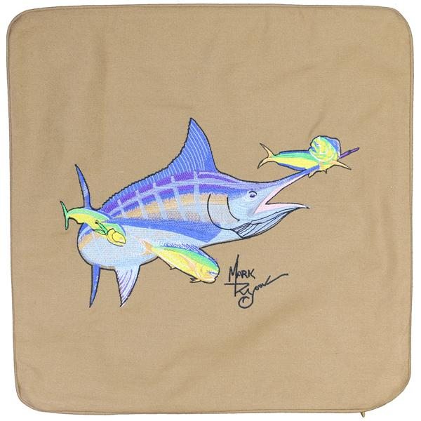 MARLIN & MAHI SALTWATER FISH EMBROIDERED CANVAS CUSHION LT TAN