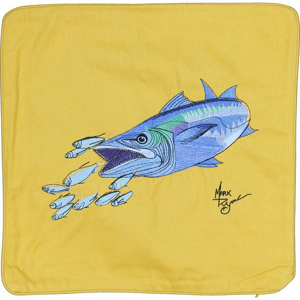 KING MACKEREL FISH EMBROIDERED HOME DECOR PILLOW CUSHION GOLD