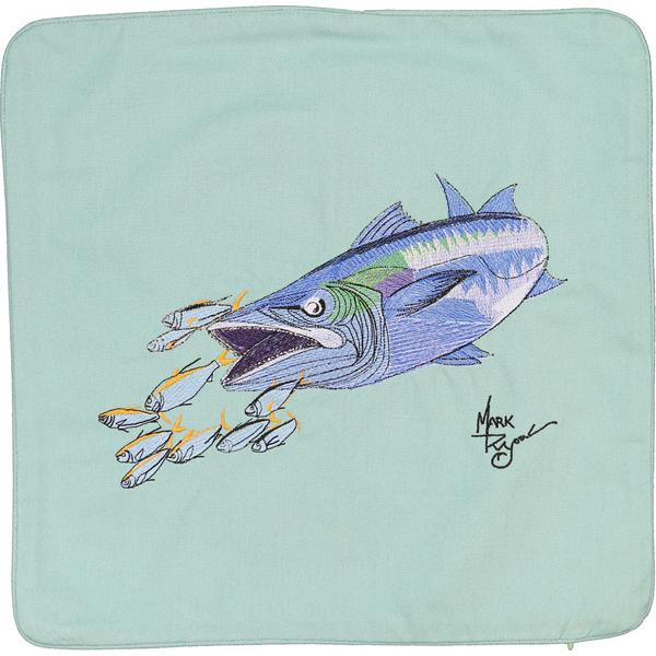 KING MACKEREL FISH DECORATVIVE CANVAS PILLOW CUSHION AQUAMARINE