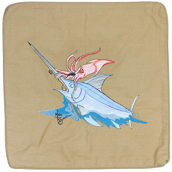SWORDFISH SQUID OCTOPUS EMBROIDERED CANVAS PILLOW CUSHION TAN