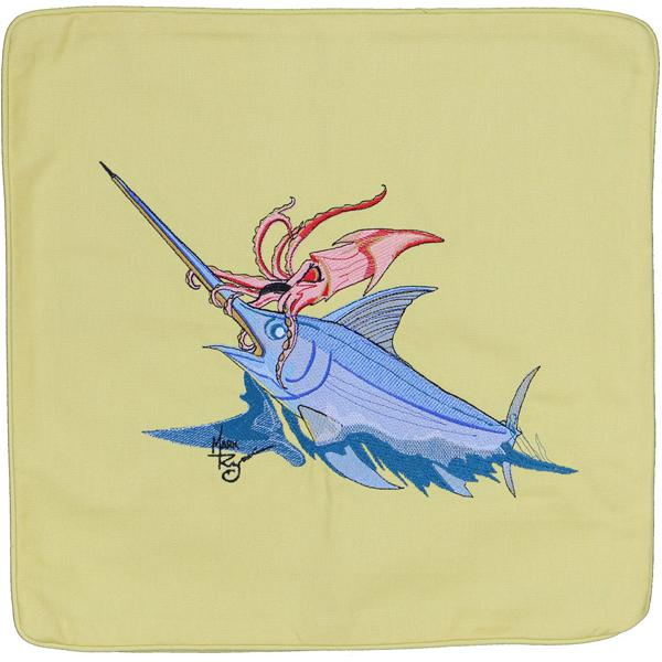 SWORDFISH SQUID OCTOPUS INDOOR OUTDOOR PILLOW CUSHION YELLOW
