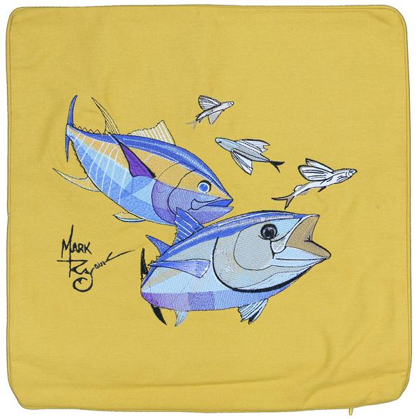 BLUEFIN YELLOWFIN TUNA FLYING FISH CANVAS PILLOW CUSHION GOLD