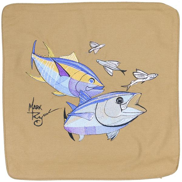 BLUEFIN YELLOWFIN TUNA FLYING FISH DECORATIVE PILLOW CUSHION TAN