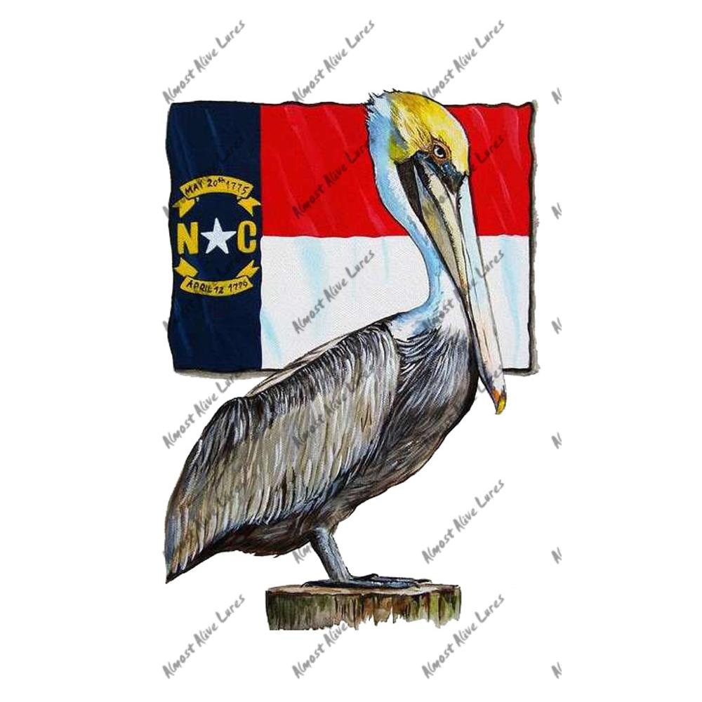 North Carolina State Flag Pelican - Printed Vinyl Decal