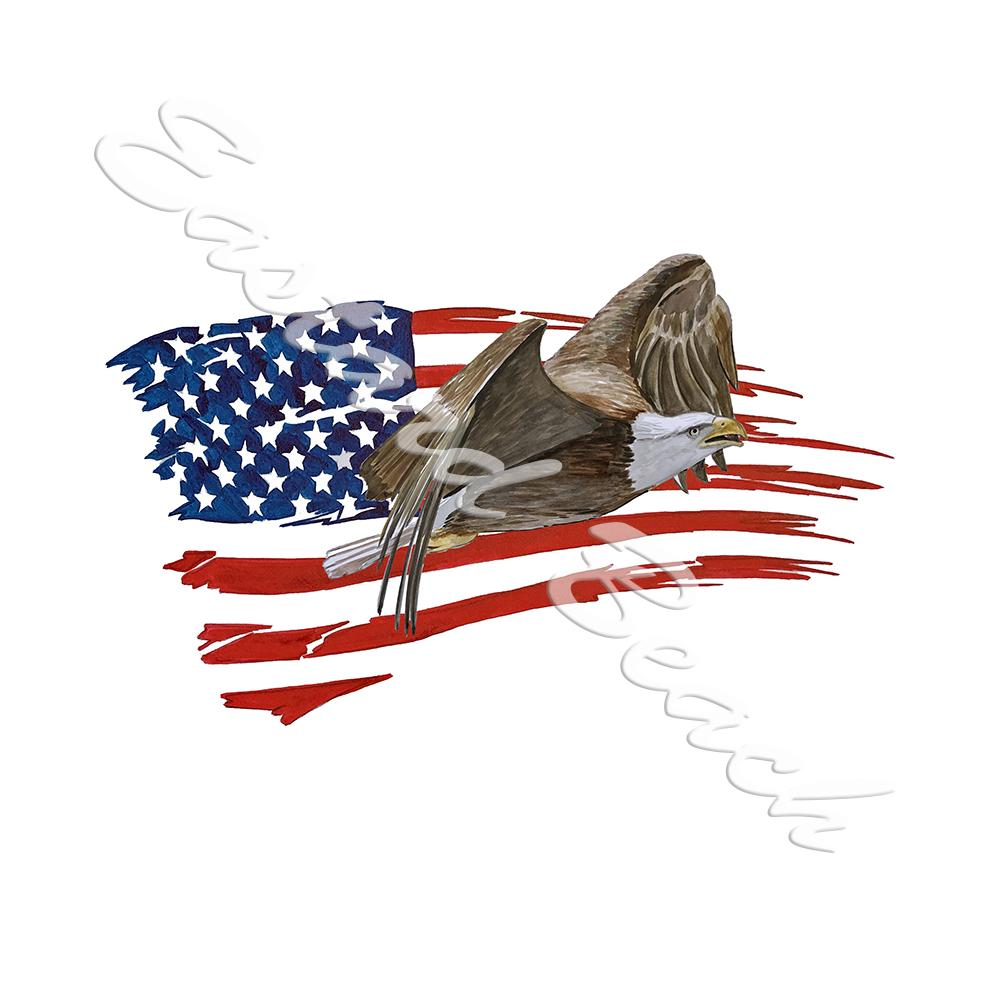 American Flag Tattered w/ Flying Eagle