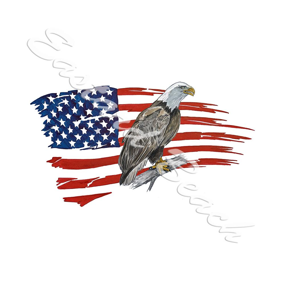 American Flag Tattered w/ Perched Eagle