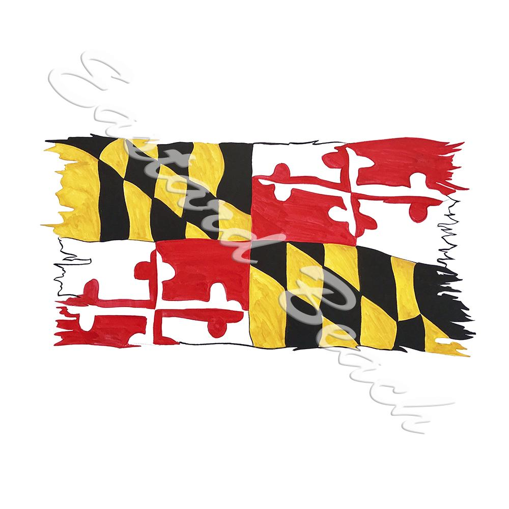 Maryland Flag Tattered