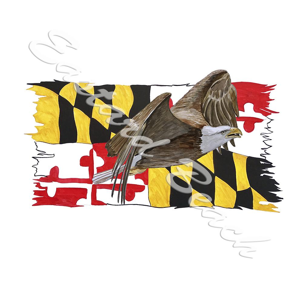 Maryland Flag Tattered w/ Eagle 1