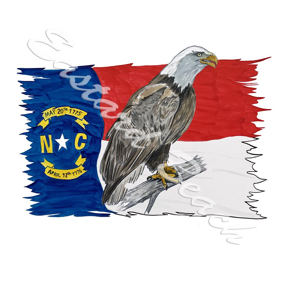 NC Flag Tattered w/ Perched Eagle