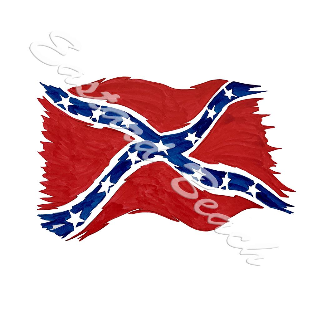 Confederate Flag Tattered - Printed Vinyl Decal