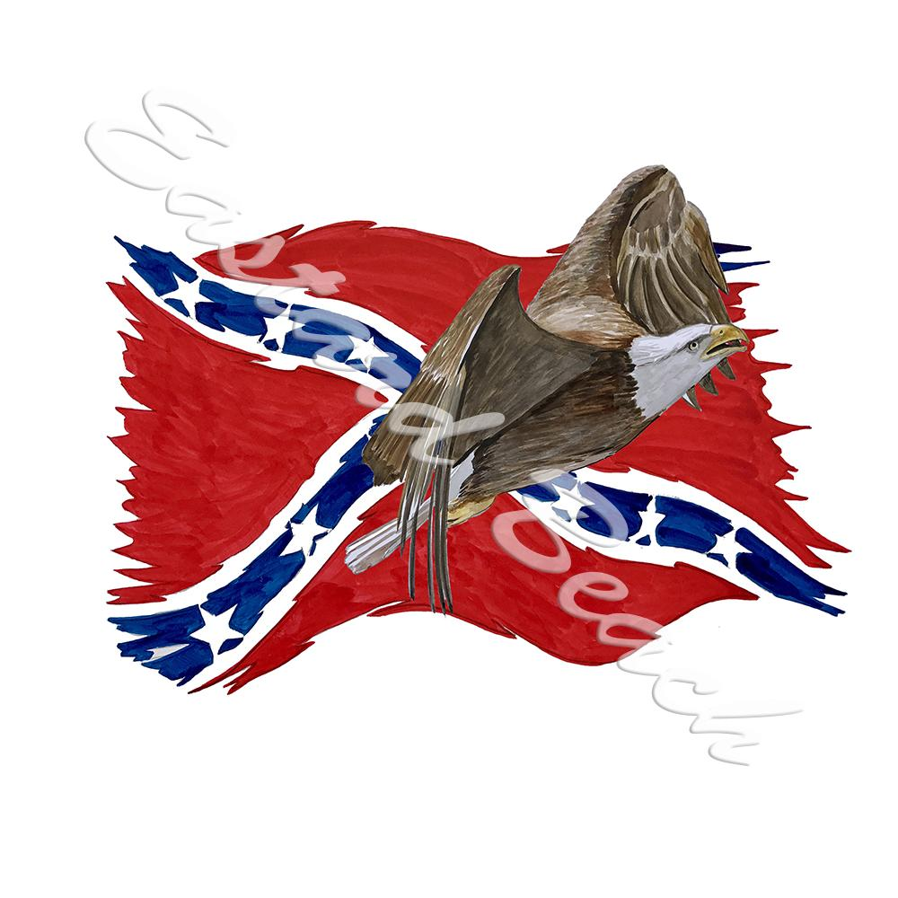 Confederate Flag Tattered w/ Flying Eagle