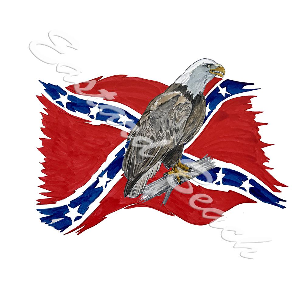 Confederate Flag Tattered w/ Perched Eagle