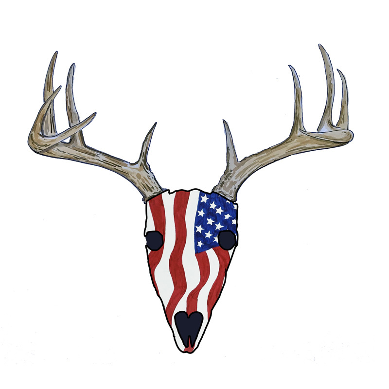 USA Deer Skull - Printed Vinyl Decal