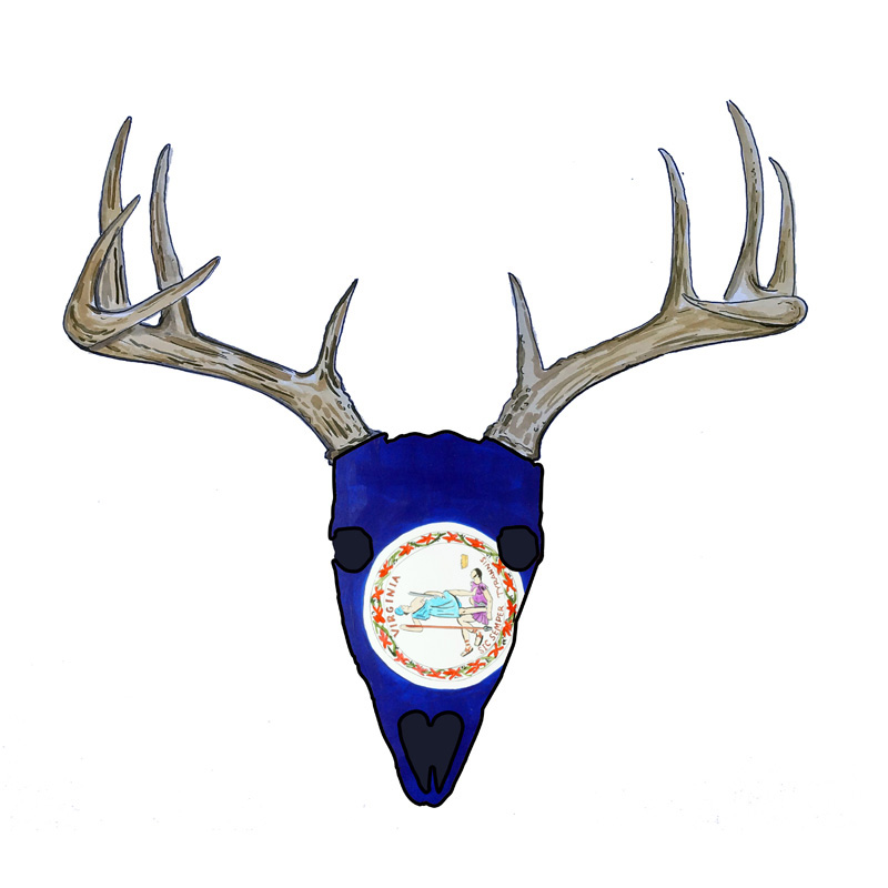 Virginia Flag Deer Skull - Printed Vinyl Decal