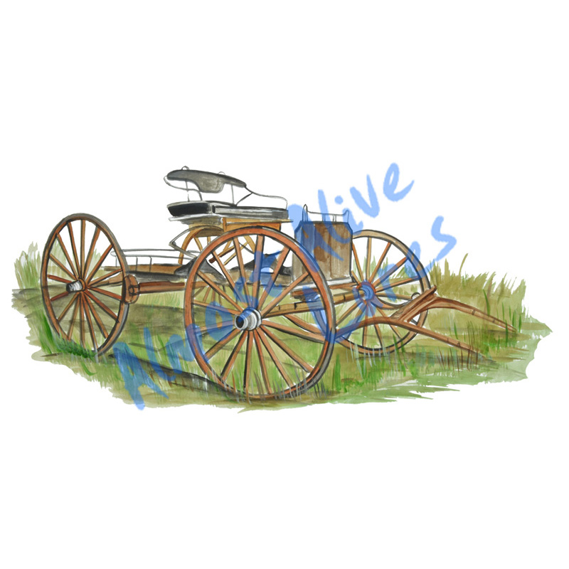 Horse Wagon - Printed Vinyl Decal
