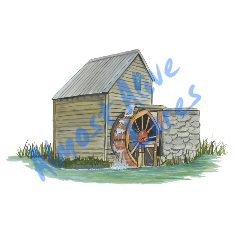 Water Mill - Printed Vinyl Decal