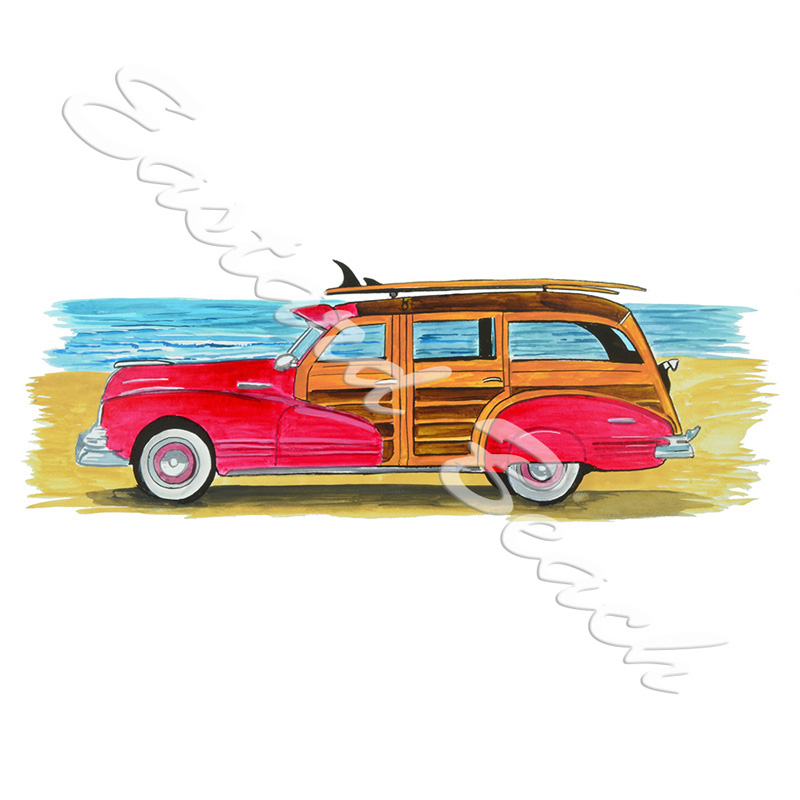Woody Beach Cruiser - Printed Vinyl Decal