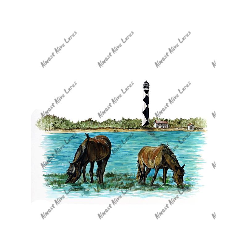 Cape Lookout Lighthouse & Horses - Printed Vinyl Decal