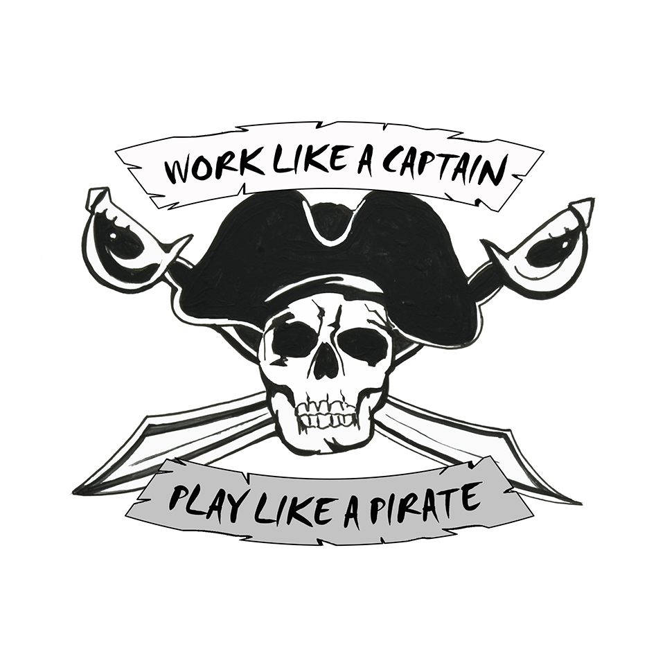 """Work / Play"" - Pirate Skull"
